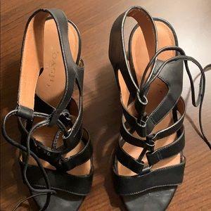 Coach Shoes - Coach Lace Up Black Leather Sandals - Size 6.5
